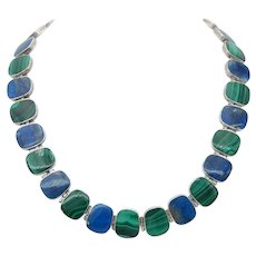 Estate Lapis Lazuli Malachite and Sterling Necklace
