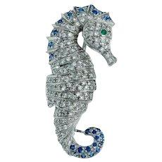 Estate Diamond Sapphire Emerald Platinum Seahorse Brooch
