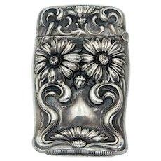 Antique Art Nouveau Sterling Silver Vesta Match Safe -  Circa 1906