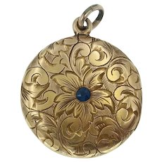 Strobell and Crane Antique Art Nouveau Floral Engraved Locket in 14k Gold Gold with Sapphire