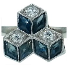 Tasty Art Deco Sapphire and Diamond Ring in 14k White Gold