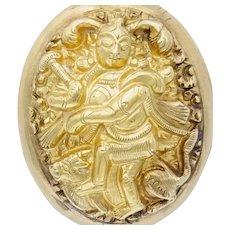 Fantastic Antique East Indian Shiva Nataraja and Nandi Locket in 14k Gold