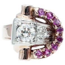 Vintage Retro Diamond and Ruby Buckle Ring in 14k Rose and White Gold