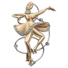 Vintage Retro 1940s Ice Skater Skating Pin Brooch in 18k Rose Gold White Gold and Diamonds
