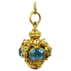 Juicy Estate Blue Topaz and Cultured Pearl Charm in 18k
