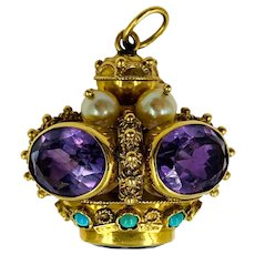 Juicy Estate Amethyst Pearl and Turquoise Charm in 18k