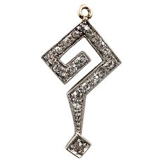Winsome Art Deco Mine-Cut Diamond Question Mark Charm in 14k White and Yellow Gold