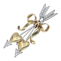 Vintage Hearts and Arrows Brooch in 18k Gold Platinum and Diamonds