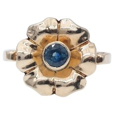 Vintage Flower Ring in 10k Gold with Blue Spinel