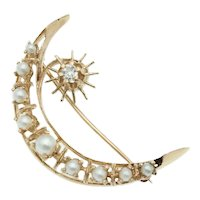 Vintage Celestial Crescent Moon and Star Brooch in 14k Gold with Pearls and Diamond