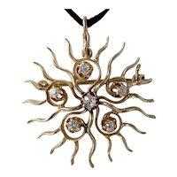 Charming Victorian Mine-Cut Diamond Star Pendant Brooch in 14k