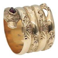 Antique Victorian Snake Ring in 18k Gold and Garnet