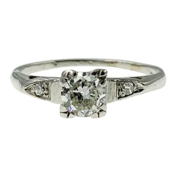 Charming Vintage European-Cut Diamond Engagement Ring in Platinum