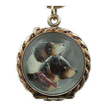Fabulous Essex Crystal Dog Locket in 12k Gold