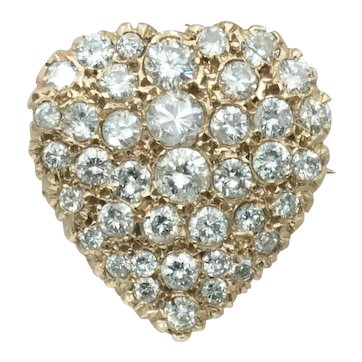 Romantic Vintage Diamond Heart Pendant Brooch in 14k Yellow Gold