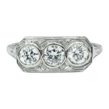 Vintage Art Deco Three Stone Old European Cut Diamond Platinum Filigree Ring