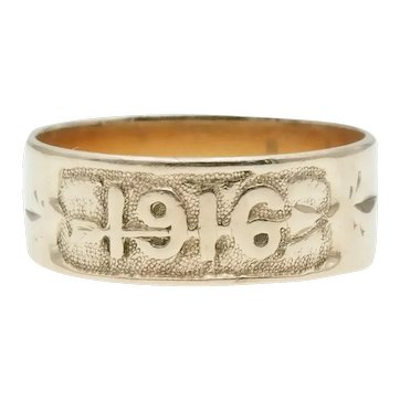 Antique 14k Gold Arrow Date Band Ring Circa 1916