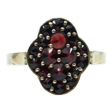 Vintage Bohemian Rose Cut Garnet Ring - Czechoslovakia