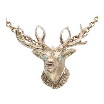 Antique 14k Gold and Diamond Elk Pendant