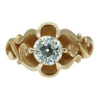 Antique Art Nouveau Old European Cut Solitaire Diamond 14k Gold Engagement Ring