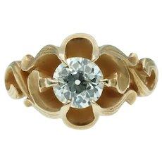 Antique Art Nouveau Old European Cut Solitaire Diamond Engagement ring in Yellow Gold