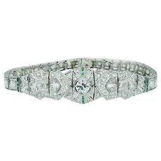 Art Deco Vintage Old European Cut Diamond and Emerald Bracelet
