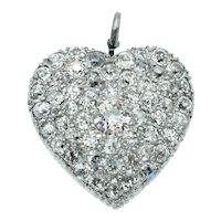 Vintage Art Deco Old European Cut Diamond Pavé Heart Pendant