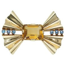 Bold Retro Vintage Topaz Blue Sapphire Bow Brooch in 14k Gold