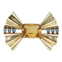 Retro Vintage Topaz Blue Sapphire Bow Brooch in 14k Gold