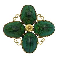 Antique Victorian Scarab Beetle Pendant Brooch in 15k 15ct Gold