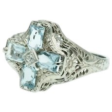 Art Deco Aquamarine Diamond Floral Filigree Ring in 14k White Gold