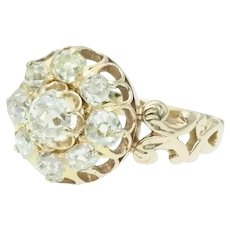 Antique Victorian Old Mine Cut Diamond Halo Cluster Ring in 14k Yellow Gold