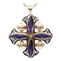 Large Vintage 14k Gold Jerusalem Cross Pendant with Synthetic Alexandrite