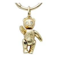 Vintage Articulated Teddy Bear Charm Pendant in 14k Gold with Diamond Eyes