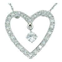 Vintage Diamond Heart Pendant Necklace in 14k White Gold