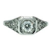 Vintage Art Deco Old European Cut Diamond Engagement Wedding Ring in 18k White Gold Filigree