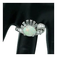 Fun Retro Platinum Opal and Diamond Ring