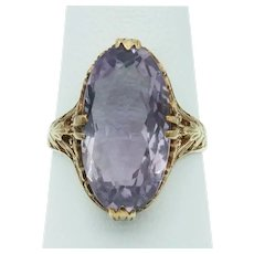 Gorgeous Vintage Amethyst Ring in 14k Yellow Gold Filigree