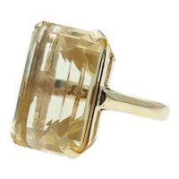 Bold Vintage Step Emerald Cut Citrine Ring in 14k Gold
