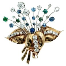 Exceptional Retro Floral Bouquet Brooch in 14k Rose and White Gold with Diamonds Sapphires and Emeralds