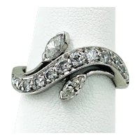 Delightful Mid-Century Marquise and Round Diamond Ring in Platinum