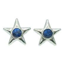 Charming Estate Blue Sapphire Star Earrings in 14k White Gold