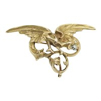 Antique Griffin Pendant Brooch in 18k Gold and Diamond
