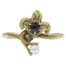 Vintage Garnet and Pearl Ring in 14k Gold