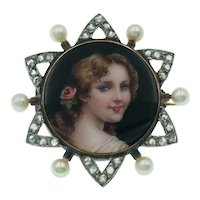 Antique Victorian Portrait Miniature Brooch with Rose Cut Diamonds and Pearls in 14k Gold