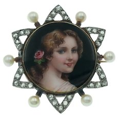 Lovely Antique Victorian Portrait Miniature Brooch with Rose Cut Diamonds and Pearls in 14k Gold