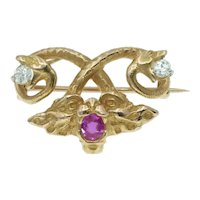 Antique Art Nouveau 18k Fantasy Snake and Face Pendant Brooch with Diamonds and Ruby