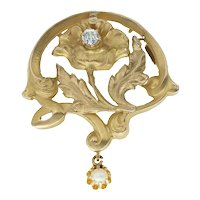Antique Art Nouveau 18k Gold Flower Pendant Brooch with Diamond and Pearl
