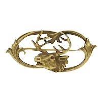 Antique 14k Gold Elk Pin