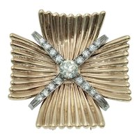 Vintage Diamond Maltese Cross Pendant Brooch in 14k Two Tone Gold